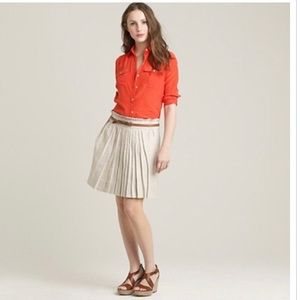 J Crew Garden Linen Flax Skirt pleated 4
